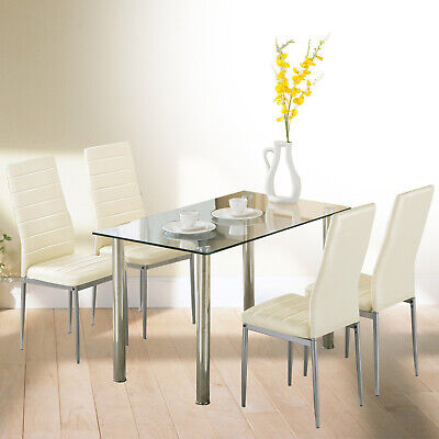 5 Pcs Dining Set Glass Table And 4 Leather Chair Dining Room Kitchen Furniture • 159.90$