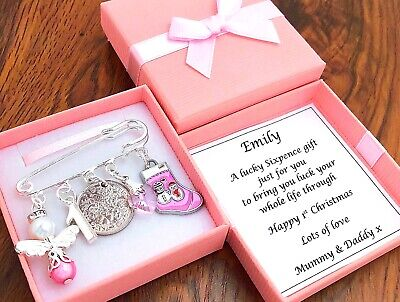 BABY'S FIRST CHRISTMAS GIFT, LUCKY SIXPENCE, GIRL/BOY PERSONALISED In BOX • 5.45£
