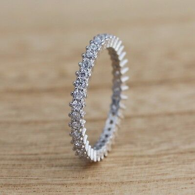 925 Sterling Silver Full Eternity Stacking CZ Band Ring Various Sizes • 10.98£