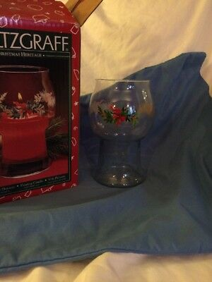 $10.99 • Buy Pfaltzgraff Vase Glass Floating Candle Holder Holly Berry