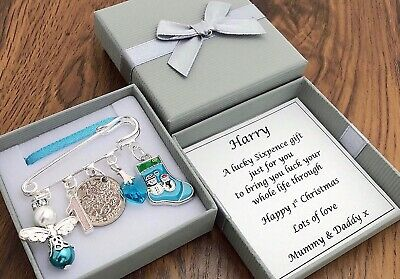 BABY'S FIRST CHRISTMAS GIFT, LUCKY SIXPENCE, BOY PERSONALISED In BOX • 5.49£