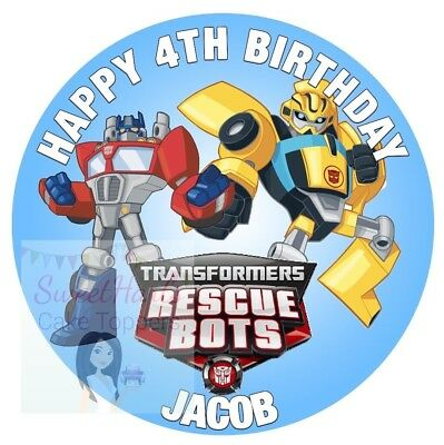 Transformers Rescue Bots Cake Topper Personalised Edible Icing Bumblebee Optimus • 5.99£