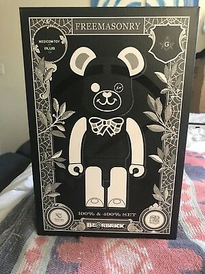 $350 • Buy Medicom Plus Be@rbrick Fragment Design Freemasonry 400% & 100% Bearbrick Black
