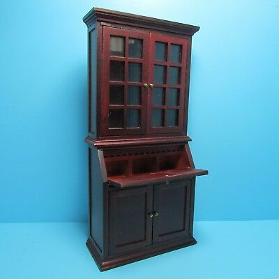 $26.99 • Buy Dollhouse Miniature Bookcase With Cabinet And Desk In Mahogany ~ T3341