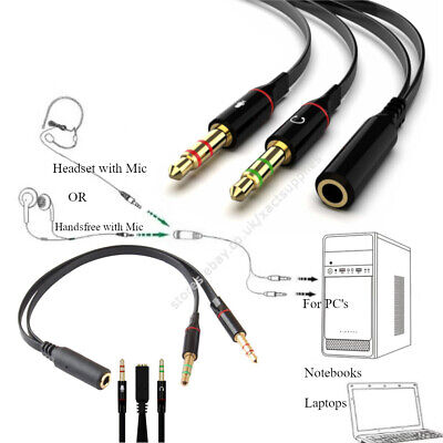 3.5mm AUX Headphone Mic Coupler Adapter 1Female 2Male Audio Microphone Splitter • 2.99£