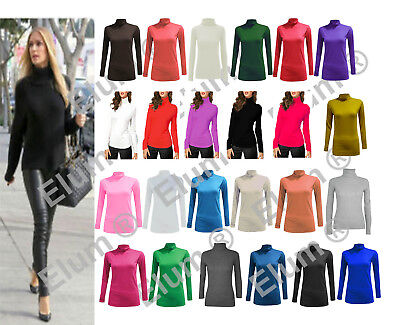 Ladies Long Sleeve Polo Neck Roll Neck Top Womens Turtle Neck Plain Jumper 8-26 • 5.95£