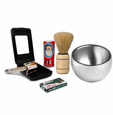 Baili ® Shaving Set Gold Double Edge Safety Razor -Natural Shaving Kit For Men's • 15.99£
