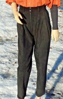 $ CDN50 • Buy SUEDE BLACK LEATHER PANTS Size 8 DANIER 27  X 27 1/2  CUFFS SATIN LINED CANADIAN