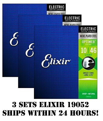 $ CDN45.89 • Buy *3 Sets Elixir 19052 Optiweb Coated Electric Guitar Strings Light - 10-46*