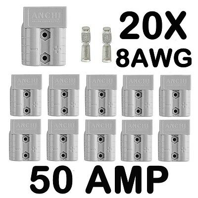 AU24.98 • Buy 20 X Anderson Style 50 AMP Plug Connectors HD Springs DC Power 12-24V 8AWG