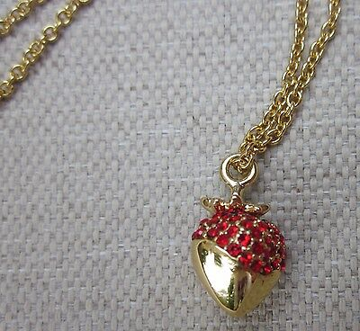 $ CDN92.97 • Buy NWT Kate Spade Outside The Box Strawberry Mini Pendant Necklace CHOCOLATE COVER