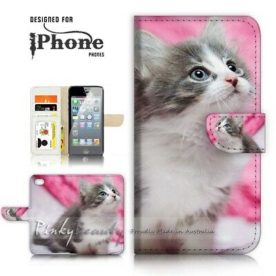 AU12.99 • Buy ( For IPhone 6 / 6S ) Wallet Case Cover P21197 Cute Pussy Cat