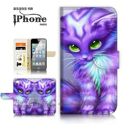 AU12.99 • Buy ( For IPhone 7 Plus ) Wallet Case Cover P21199 Pussy Cat