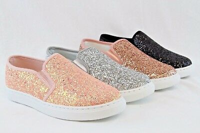 Women Glitter Sneakers New Design Sequin Shiny Shoes Espadrille Flats Loafers • 16.95$