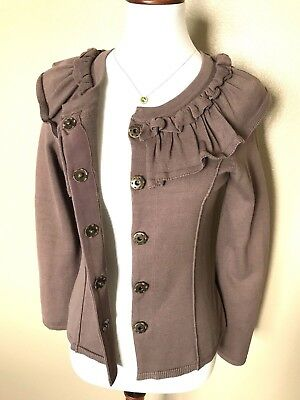 $ CDN34.85 • Buy Anthropologie Moth Sweater Cardigan Size Small Brown Neck Ruffle Button/Snaps Up
