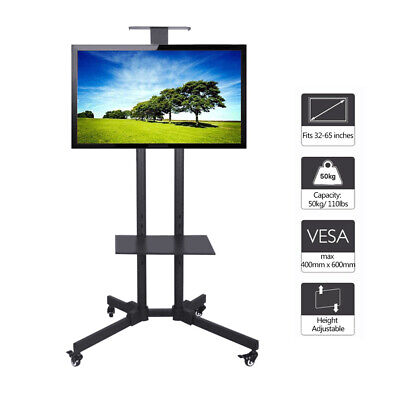Steel TV Floor Display Stand Trolley On Wheels With 1 Tier Shelf For 32 - 65  TV • 40.99£