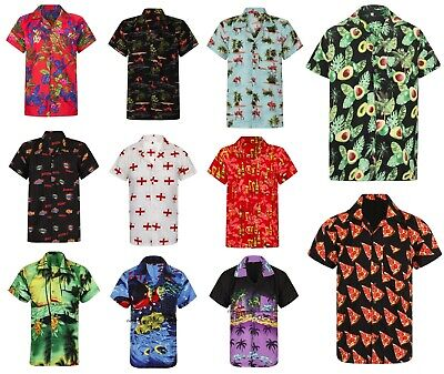 Hawaiian Shirt Mens Palm Tree Beach Holiday Parrot Fancy Dress Stag Party Loud • 7.95£