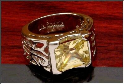 $ CDN24.25 • Buy Gorgeous Signed Lia Sophia Yellow Citron CZ  & Silverplated  Ring Sz 7