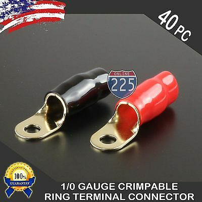 AU37.95 • Buy 0 Gauge Gold Ring Terminal 40 Pack 1/0 AWG Wire Crimp Red Black Boots 5/16  Stud