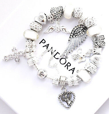 AU109.46 • Buy Authentic PANDORA Bracelet Silver White  Angel Wing  MOM With European Charms