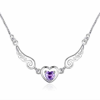 £3.99 • Buy Angel Wing Heart Pendant Chain Necklace 925 Sterling Silver Womens Jewellery New