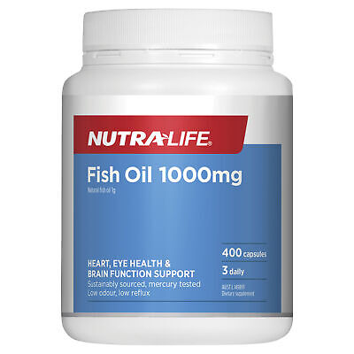 AU26.39 • Buy Nutra-Life Natural Fish Oil 1000mg 400 Capsules Omega 3 Fatty Acids Supplements