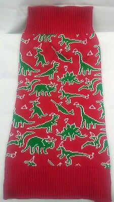 $7.50 • Buy Christmas Dog Sweater Dinosaurs Dog Sweater Size L Steven Adams