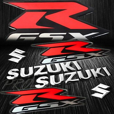 $25.98 • Buy 5.75  ABS Logo+Letter Decal+7.5  GSXR Fairing Emblem Sticker Suzuki Red&Silver