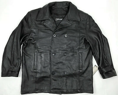 10e7c58f4f3 mens black leather pea coat