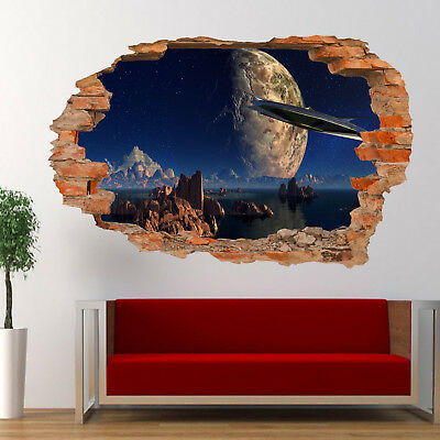 Space Planets Spaceship Wall Stickers 3d Art Mural Room Office Poster Decor Vs7 • 18.99£