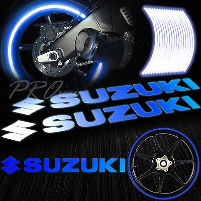 $19.88 • Buy 8  Reflective Logo Decal+16 17 18  F+R Rim Tape/Wheel Stripe Sticker Suzuki Blue