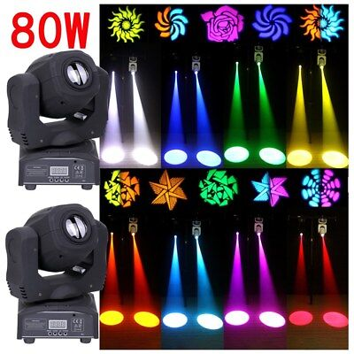 2PCS 80W Moving Head Stage Light Gobo RGBW LED DMX Spot Club Party Disco Lights • 179.99£