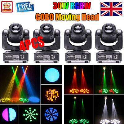 4PCS U`king 30W Moving Head GOBO Stage Lighting Spot RGBW LED DMX Disco DJ Party • 259.99£