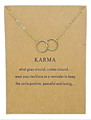 Karma Circle Rings Pendant Gold Plated Infinity Linked Chain 18 + Necklace • 2.99£