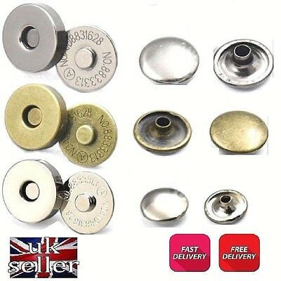 2 X 18mm Magnetic Popper, Snap Fastener Stud Clothing Bags Sewing • 2.55£
