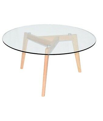 AU99 • Buy Coffee Table Solid Oak Furniture Living Timber Legs With 8mm Tempered Glass Top