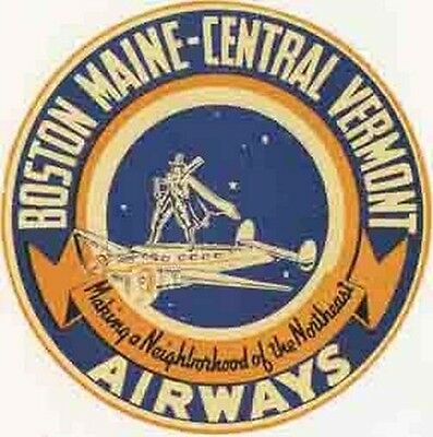 $3.99 • Buy Boston Maine Vermont AIRLINE Sticker Decal Vintage Style Luggage Baggage  Decal