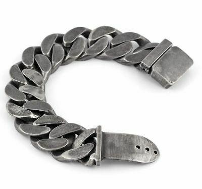 Stainless Steel Gunmetal Large Curb Link Biker Chain Bracelet 25mm New UK • 27.45£