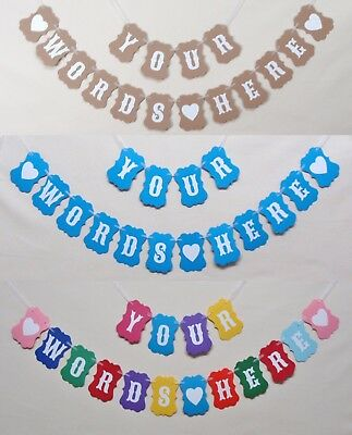 PERSONALISED BUNTING BANNER Wedding Hen Party Baby Shower Birthday Christening • 3.49£