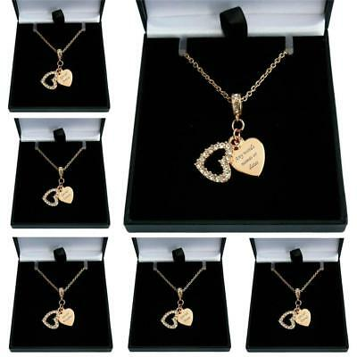 Rose Gold Necklace With Engraving, Personalised Heart Pendant, Gift Boxed • 19.99£