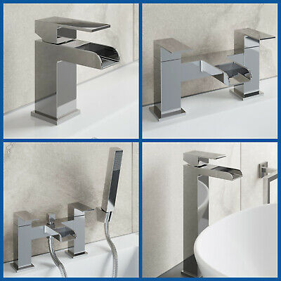 Waterfall Bathroom Taps Chrome Basin Mixer Bath Filler Shower Deck Tap Sets • 26.99£