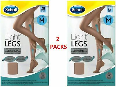 SCHOLL LIGHT LEGS COMPRESSION TIGHTS 20 DEN MEDIUM NUDE X 2 PACKS *NEW* • 12.95£