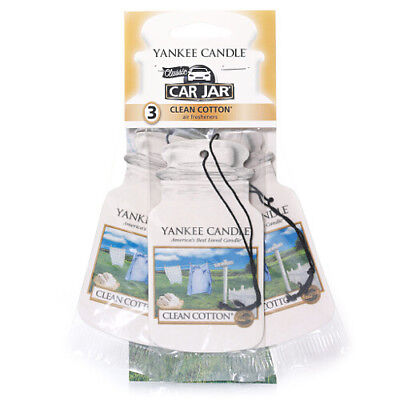 Yankee Candle 3 Pack Car Jar Air Freshener Fragrance Scent - CLEAN COTTON • 6.99£