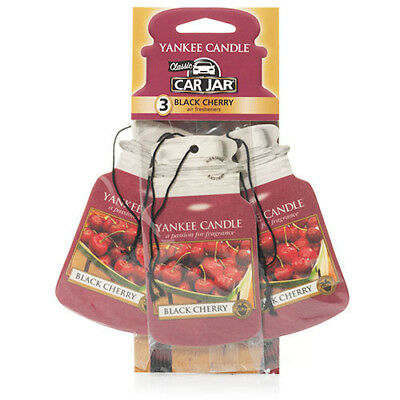 Yankee Candle 3 Pack Car Jar Air Freshener Fragrance Scent - BLACK CHERRY • 6.99£