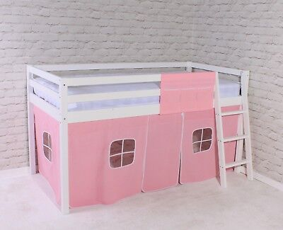 Shorty Cabin Bed Mid Sleeper Loft Bunk Tent Girls Pink New White Frame 2FT 6  • 149.95£
