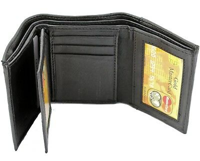 $7.99 • Buy New Mens Black Genuine Leather Trifold Wallet ID Window Credit Card Case Holder