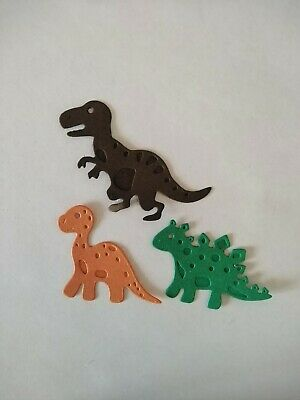 12 Dinosaur Card Toppers, ( 4 Sets Of 3) Birthday, Die Cut, Paper Craft, Boys • 2.50£