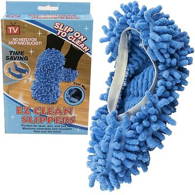 2 X MICROFIBRE DUSTER CLEANING SHOE SOCK SLIPPERS MOP DUST REMOVER FLOOR POLISH • 4.48£