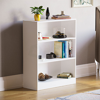 £30.95 • Buy Cambridge 3 Tier Low Bookcase Display Shelving Storage Unit Wood Stand White New