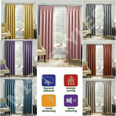 Matrix Plain Thermal Woven Block Out Lined Curtains 3  Pencil Pleat Tape Top • 17.95£